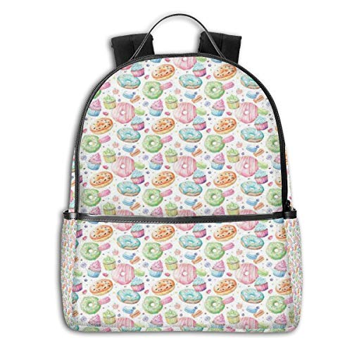 College Backpacks for Women Girls,Candy Shop Inspired Whipped Cream Topped Cupcakes Swirl Lollipops Macarons Donuts,Casual Hiking Travel Daypack