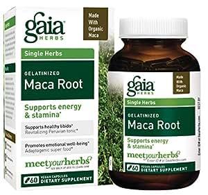 Gaia Herbs Organic Maca Root, Vegan Gelatinized Capsules, 60 Count - Supports Energy, Stamina, Healthy Libido & Hormone Balance, Peruvian-Grown Superfood