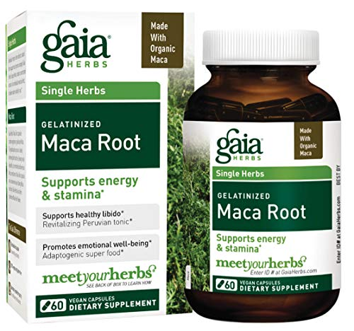 Maca Root Herb - Gaia Herbs Organic Maca Root, Vegan Gelatinized Capsules, 60 Count - Supports Energy, Stamina, Healthy Libido & Hormone Balance, Peruvian-Grown Superfood