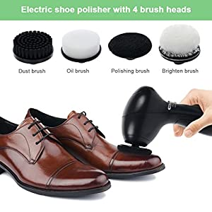 Electric Shoe Polisher,Automatic Shoe Scrubber Cleaner Portable Shoe Cleaning Brush Kit for Leather Shoes