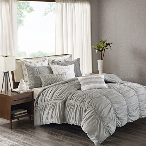 Reese Quilt (Ink+Ivy Reese Duvet Cover Full/Queen Size - Grey, Pintuck Duvet Cover Set – 3 Piece – 100% Cotton Light Weight Bed Comforter Covers)
