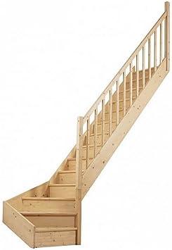Escalera 1/4 recta con giro abajo, de madera de abeto.: Amazon.es: Bricolaje y herramientas