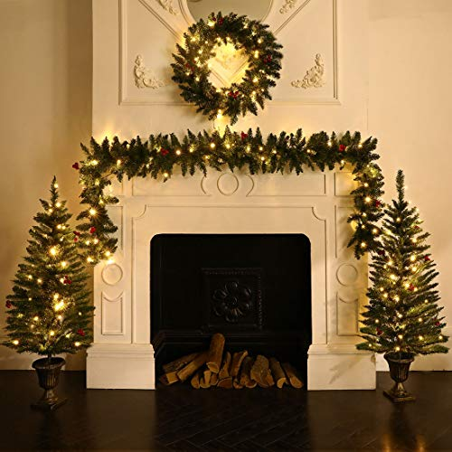 ANOTHERME Decorating Assortment with 2 4 Foot Entrance Christmas Trees, 1 9 Foot by 8 Inch Garland and 1 24 Inch Wreath All with Warm White USB Plug LED Light (Wreath Mantel)