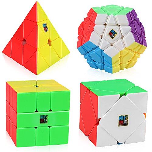 (D-FantiX Speed Cube Bundle, Moyu Mofang Jiaoshi Megaminx Pyramid Skewb Square-1 Cube Stickerless Non-Cubic Cubing Classroom Gift)