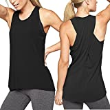 Aunis Women's Yoga Activewear Workout Clothes Sports Cross Back Tank Tops (Black, XX-Large)