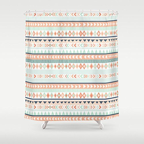 Amazon Mint And Coral Tribal Pattern Shower Curtain Handmade