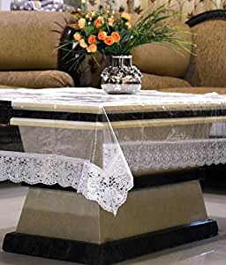 Kuber industrias transparente centro mesa de jardín de 4plazas 40x 60cm (plata) de encaje