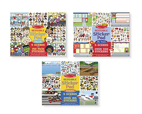 Melissa & Doug Reusable Sticker Pads Set - Face It!, My Town, and Vehicles