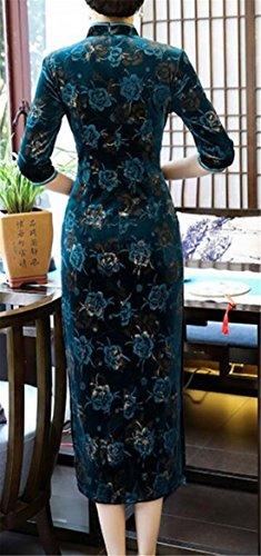 Women Eight Cheongsam Velvet Qipao s Long Domple Embroidery Floral Dress HdpAwZ