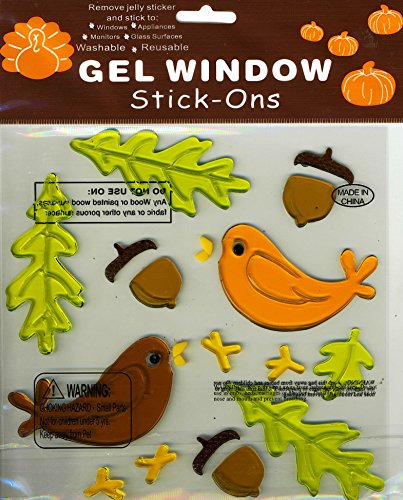 Autumn Fall Oak Leaves and Birds Gel Window Clings
