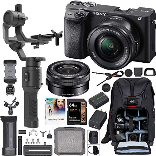 Sony a6400 4K Mirrorless Camera + 16-50mm f/3.5-5.6 Lens ILCE-6400L/B Filmmaker's Kit with DJI Ronin-SC 3-Axis Handheld Gimbal Stabilizer Bundle + Deco Photo Backpack Case + 64GB Card + Software