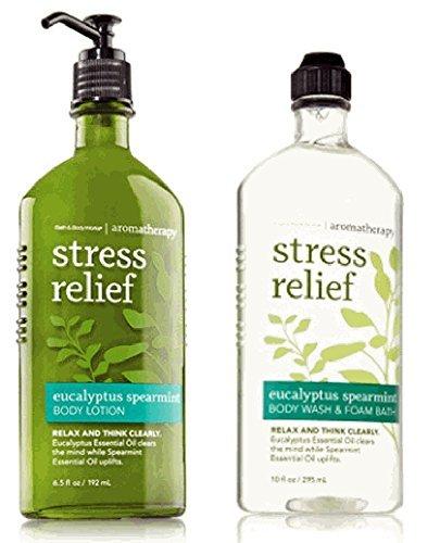 Corps œuvres aromathérapie Stress Relief Eucalyptus menthe verte 10 Oz Body lavage & mousse bain et 6,5 Oz Body Lotion Bundle (Eucalyptus, menthe)
