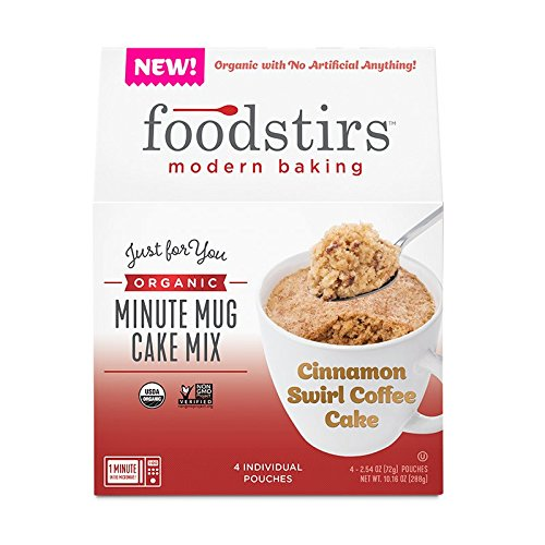 Foodstirs Organic, Non GMO Minute Mug Cake Mix Cinnamon Swirl Coffee Cake, 2.54 Ounce(Pack of 4) ()