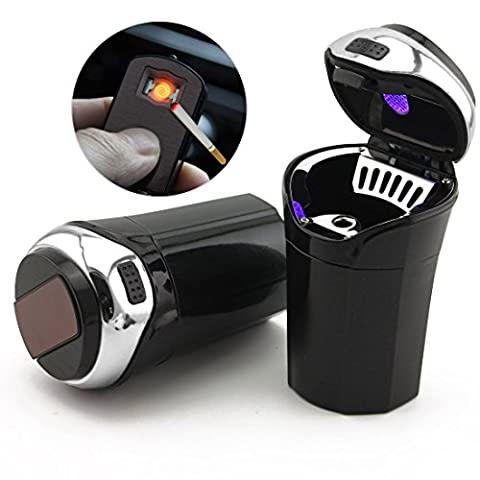 TAKAVU Car Ashtray, Easy Clean Up Detachable Stainless Car Ashtray with Lid Blue Led Light and Removable Lighter, Cigarette Car Ashtray Cup Holder (Usb Did Drive)