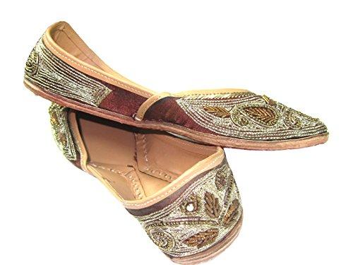 Wear Ethnic Indian Flat Beads Punjabi Jutti Leather Shoes Golden Flats Footwear Women's Sequin d56Ydx