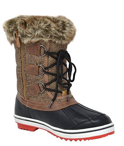 DREAM PAIRS Frauen Schweizer Mid Kalb wasserdicht Winter Snow Boots Braun-niedrig