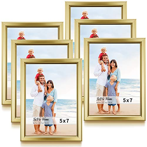 LaVie Home 5x7 Picture Frames (6 Pack, Gold) Simple Designed Photo Frame with High Definition Glass for Wall Mount & Table Top Display, Set of 6 Classic Collection