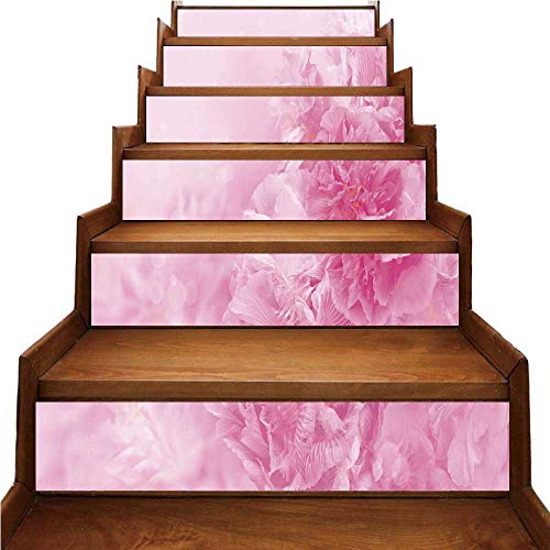 - Light Pink Nice Stairs Sticker,Spring Flowers Close Up Florets Bouquet Elegance Beauty Wedding Shabby Chic Print Decorative for Home,39.3