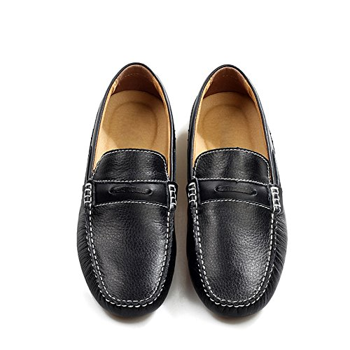 Enllerviid Black Loafers Place Leather Men's Work Shoes fqra7zfn