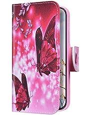 Uposao Funda para Huawei P30 Pro Carcasa Cuero con Tapa Flip Libro Estuche,Mariposa roja Dibujos PU Premium Flip Case Billetera con Silicona Cover Interna,Cierre Magnético,Función Soporte