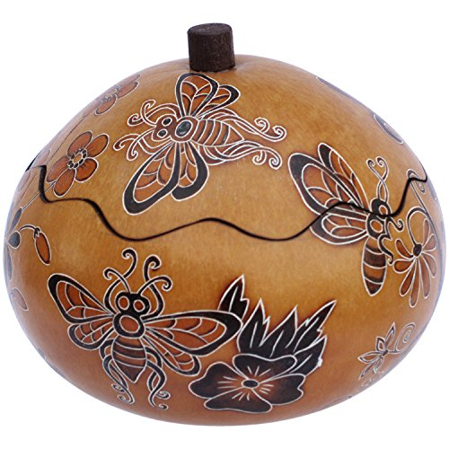 6 Gourd Box Artisan Carved Pack of Six Wholesale Lot Incazteca Assortment ()