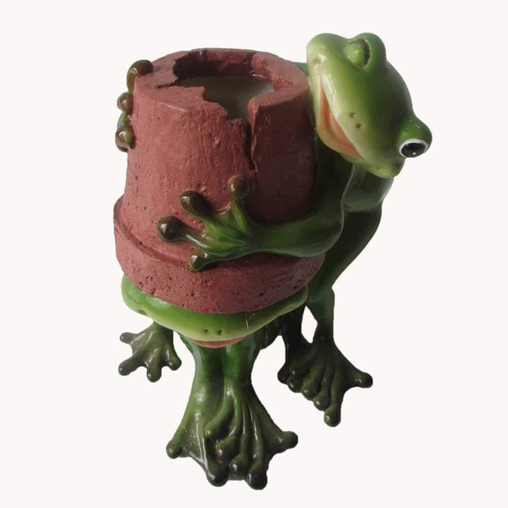 Gcclcx Colección Diaria Decoración para el hogar Mini Maceta de Flores Jardín de Hadas Rana Animal Maceta suculenta Decoración al Aire Libre Maceta de Arcilla