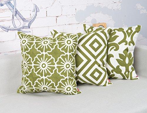 baibu Cotton Decor Throw Pillow Case Vintage Embroidery Design Cushion Cover Green 3PCS (Cushion Vintage)