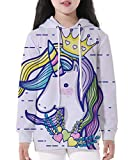 NAYINLAN Unicorn Print Pullovers Hoodies Hooded Sweatshirt Long Sleeve Top,Unicorn Princess,S