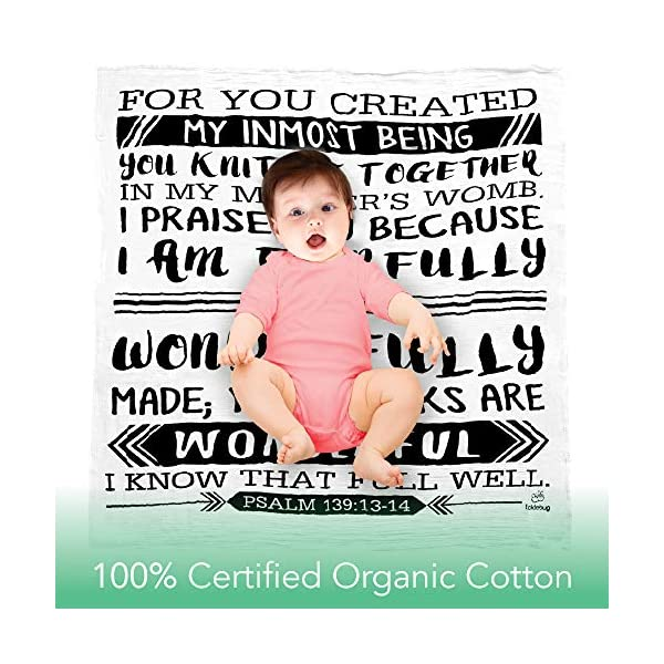 Muslin Swaddle Blanket for Baby | Perfect Baby Shower Gift | 100% Organic Cotton Boutique Quality Newborn Blanket | Psalm 139:13-14