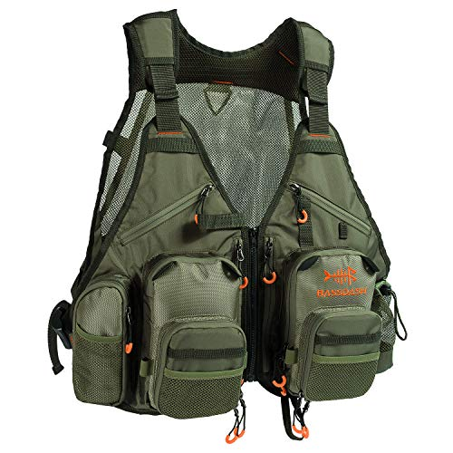 (Bassdash Strap Fishing Vest Adjustable for Men and Women, for Fly Bass Fishing and Outdoor Activities (2019 New Army Green))