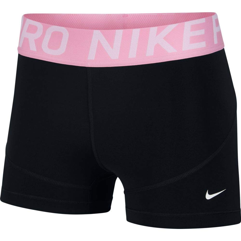 Nike Women's Pro 3'' Short (Black/Pink Rise/White, X-Small)