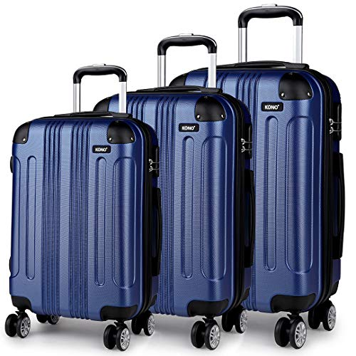 Kono 20' 24' 28' Travel Trolley Case Hard Shell ABS Light Weight Suitcase with 4 Spinner Wheel Fashion Luggage for Business Holiday