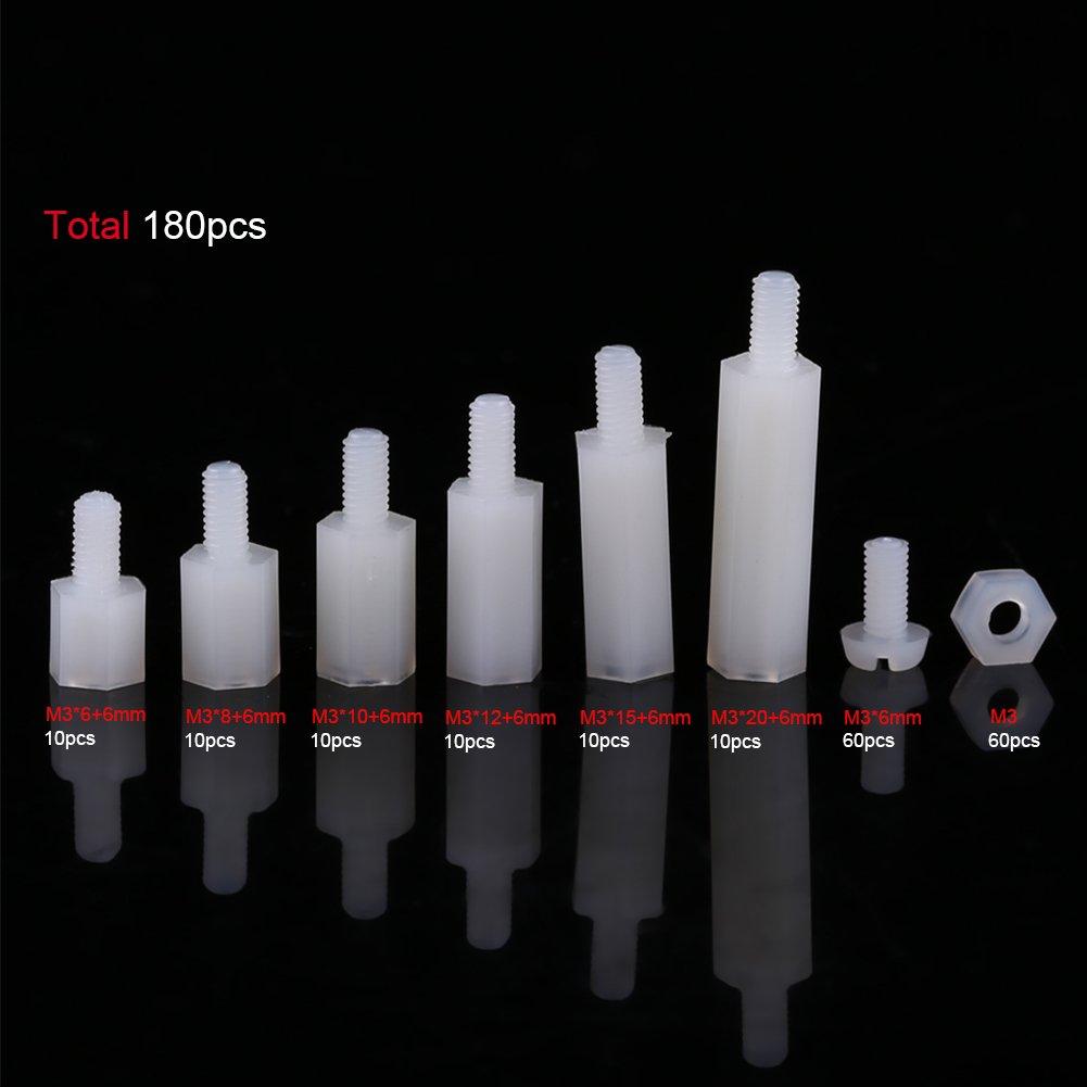 Akozon Mainboard-Abstandshalter,180 st/ücke M3 M/ännlich-weibliche Nichtleitende Nylon Hex Distanzbolzen Muttern Sortiment Mit Kunststoff-box