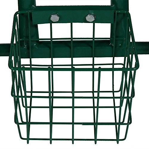 Sunnydaze Garden Cart Rolling Scooter with Extendable Steering Handle, Swivel Seat & Utility Basket, Green by Sunnydaze Decor (Image #6)