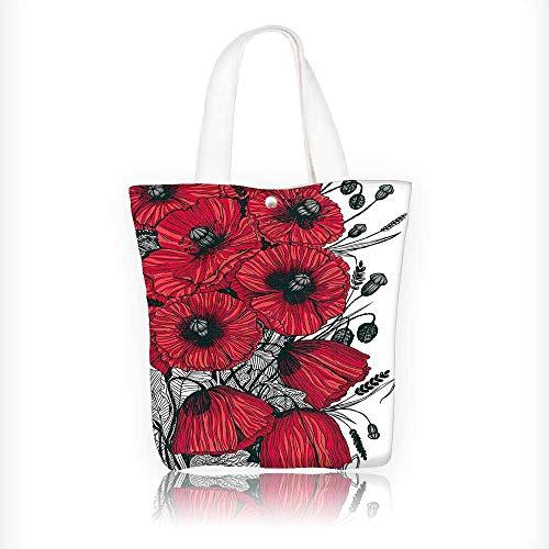 (Canvas Tote Bag Embellished Poppy Flower Florets Romantic Rural Bouquet Botany Design Hanbag Women Shoulder Bag Fashion Tote Bag W16.5xH14xD7 INCH)