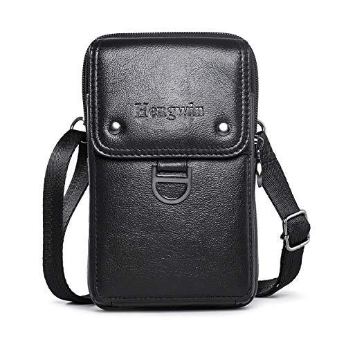 Hengwin Belt Phone Case Men's Purse Crossbody Shoulder Bags Leather Waist Bag Pack Messenger Belt Clip Loop Pouch Holster Case Compatible for iPhone Xs Max 6S 7 8 Plus Samsung S9 S8 Plus(Black)
