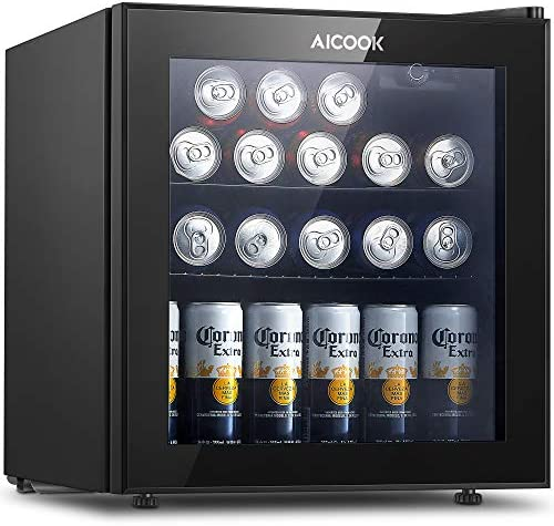 Aicook Beverage Refrigerator Cooler - Mini Fridge Glass Door for 60 Can Soda Beer or Wine - Small Wine Cooler Fridge Dispenser Machine with Removable Shelves For Bedroom Home Office RV or Bar, 1.6 Cu.Ft, Black