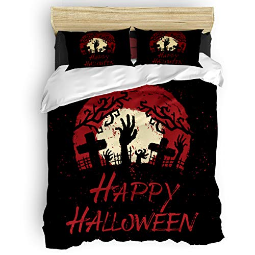 BABE MAPS 4 Piece Luxury Duvet Cover Bedding Sets Twin Happy Halloween Zombie Pattern Breathable Bedroom Quilt Cover with Zipper Closure and 2 Pillow -
