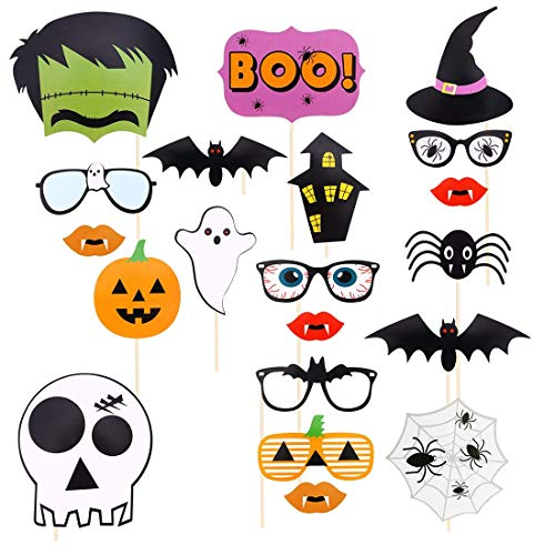 Sunnycows Halloween Party Photo Booth Props - 22 PCS DIY Photography Kit Featuring Boo Pumpkin Ghost for Halloween Birthday Party -
