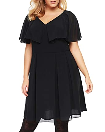 Yskkt Womens Plus Size Mini Dress Short Sleeve Party Ruffle Cape ...