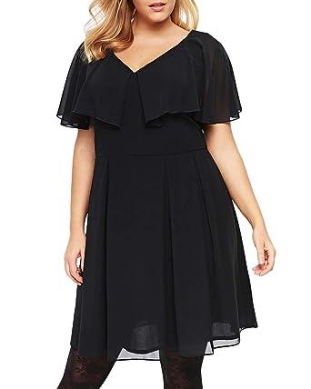 Yskkt Womens Plus Size Mini Dress Short Sleeve Party Ruffle Cape Batwing  Semi Formal Dresses