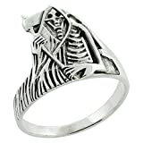Sterling Silver Grim Reaper Ring 9/16 inch, size 7