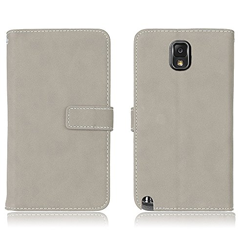 Galaxy Note 3 Flip Wallet Case, Samsung Galaxy Note 3 Case Leather [Cash and 9 Card Slots], BONROY® Retro Premium PU Leather Stand Flip Phone Case with Magnetic Card Slot Holder Wallet Book Design For gray
