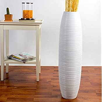 Leewadee Tall Floor Vase 30 inches, Wood, White