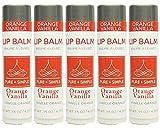 PURE + SIMPLE Orange Vanilla Lip Balm Collection, Vegan, Set of 5 Tubes, Avocado Butter, jojoba Oil, Vitamin E Complex Healing Treatment