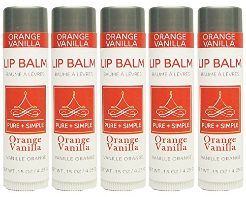 PURE + SIMPLE Orange Vanilla Lip Balm Collection, Vegan, Set of 5 Tubes, Avocado Butter, Jojoba Oil, Vitamin E Complex Healing treatmen