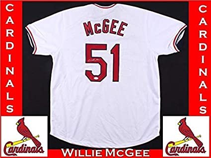 low priced 950c6 a2443 Willie Mcgee Autographed Signed #51 St Louis Cardinals White ...