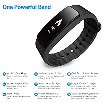 AMIR Fitness Activity Tracker, Bluetooth 4.0 Wireless Pedometer Wristband with Heart Rate Monitor, Sleep Monitor, IP67 Waterproof Smart Bracelet, OLED Touch Screen for Android/iOS Smartphones