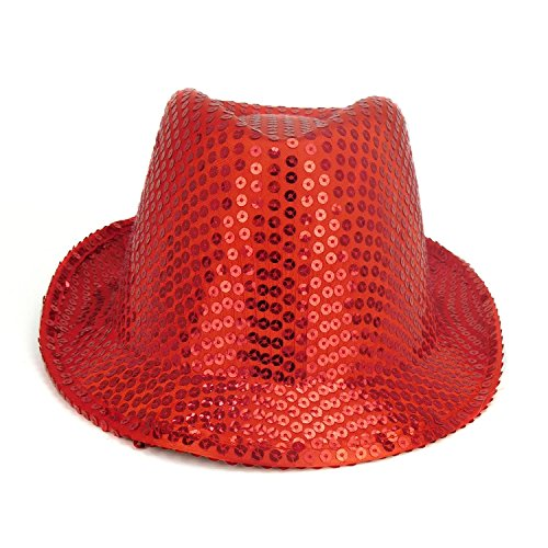 Red Sequin Trilby Party Hat - Fancy Dress - Freshers / University / College Parties