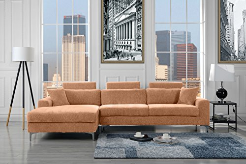 Modern Large Velvet Sectional Sofa, L-Shape Couch with Extra Wide Chaise Lounge (Light Brown)